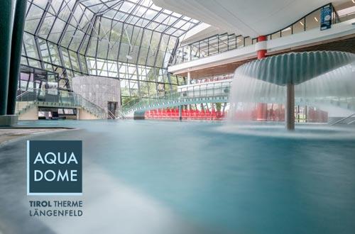 Der Aqua Dome, die Tirol Therme Längenfeld, bietet Entspannung und Wellness auf höchstem Niveau. Als Gäste des Corso Living erhalten Sie exklusive Angebote und Rabatte im Aqua Dome. Selbstverständlich können Sie die Eintrittskarten direkt bei uns an der Rezeption erwerben.