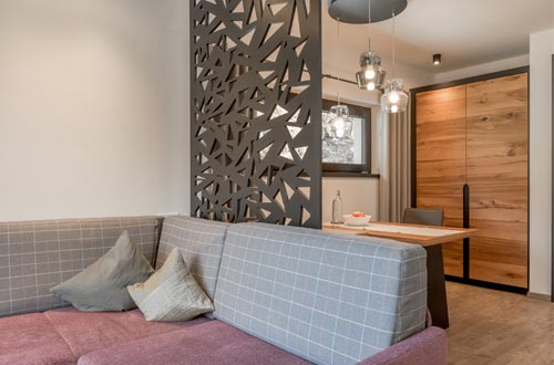 A bit closer to the mountains peaks – ample kitchen-cum-living room with seating corner, 1 bedroom, open bathroom area with bathtub, wellness shower and infrared cabin, sky view terrace, …